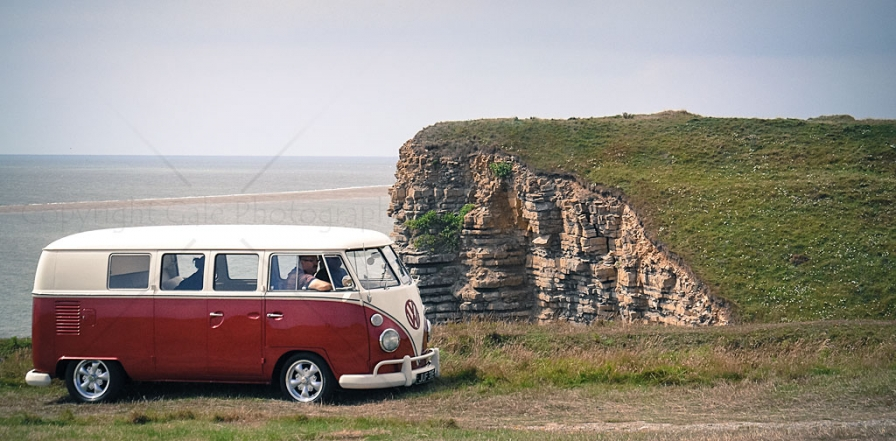 """Red & white VW camper van"""